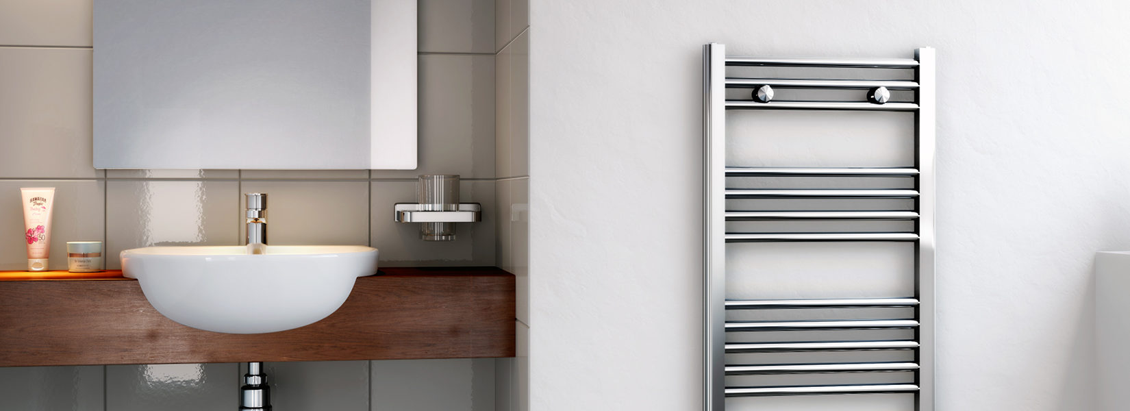 Chrome Slimline Towel Rail - Henrad
